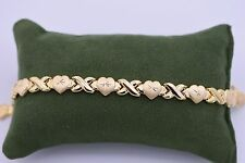 "7.5"" Hearts & Kisses Bracelet Stampato 14K All Yellow Gold Clad Silver XOXO 925"