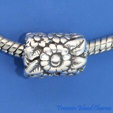 FLOWER FLORAL TUBE .925 Solid Sterling Silver EUROPEAN EURO Spacer Bead Charm