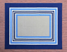Ballard 8'x10' USA Color Blue Stripe Handmade Tufted 100% Woolen Rugs & Carpets