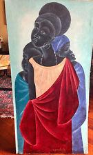 African Womens - Olio su tela del pittore Ngombe (1942-1990) - Congo - 91x46 cm