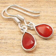 """Earrings 1.1"""" Real Gemstone Women'S Jewelry 925 Silver Plated Drop Red Carnelian"""