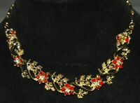 "Vintage Ornate Red Clear Flower Rhinestone Floral Link Chain Necklace 15"" Choker"