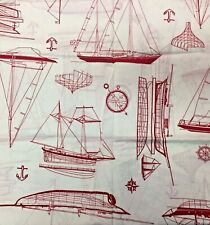 SAILBOATS SHIPS Theme Yardage Fabric Red White Cotton 1yd 23 inch X 42 in Width