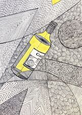 """Original surreal ink drawing on paper """"bottle of wine""""  11.8x8.3"""""""