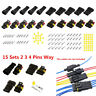 15 Sets 300V 12A Waterproof 2 3 4 Pins Way Sealed Electrical Wire Connector Plug