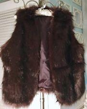 NEW~ Plus Size 1X Brown Red Faux Fur Boho Open Vest Jacket Wrap $109