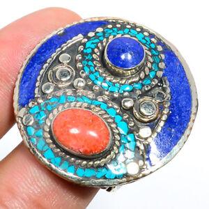 Red Turquoise & Lapis Lazuli Antique Silver Handmade Tibetan Ring s.Ad F2587