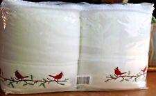 NEW Berkshire Polar fleece Sheet Set White w Embroidered Cardinals Twin