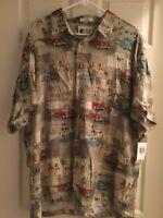 Ron Chereskin 100% Rayon Hawaiian Shirt Vintage Cars Men's Size XL