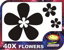40 Black Oriental Flower Car Stickers Decals Graphics body panel window surf