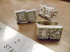 """INITIALS """"DB"""" WHITE 14K GOLD MEN'S PINKY RING AND CUFF LINKS WITH DIAMONDS"""
