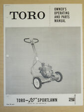 "1956 TORO MOWER OPERATING PARTS MANUAL SPORTLAWN 20"" SN#. 10017 3000 & UP"