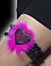 Bride to be Black Heart Shaped Pink Fur Pink Letter Black Garter Hen Party Night