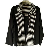 Chicos Zenergy Womens Jacket And Tank Top Black Stripe Zip Stretch M/L NWOT's