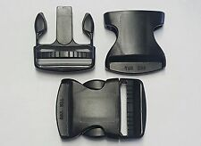 """QTY (10) BLACK PLASTIC SIDE RELEASE 2"""" BUCKLE (MALE AND FEMALE)"""