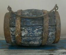 More details for 19th century small oak barrel cask with iron bandings and iron carrying handle
