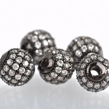 2 Gunmetal Black Micro Pave' Round Beads w/ Cubic Zirconia Crystals, 8mm bme0425