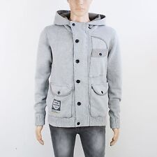 883 Police Mens Size S Heavyweight Grey Knitted Hoodie Jacket