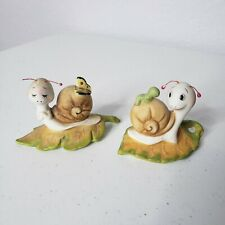 Snail w/Caterpillar & Snail with Butterfly Homco Figure 8902 Home Interior