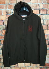 Mens Size XL SPYDER Black Hooded Fleece Lined Full Zip Shell Red Accent