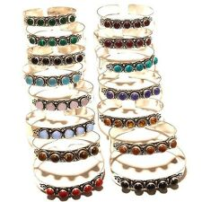 WHOLESALE LOTS 15 PCS 925 SILVER PLATED OPAL,TURQUOISE,CORAL MIX BANGLE / JUH3F