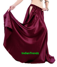 Satin Panel Full Circle Skirt BellyDance Tribal Slit Gypsy Costume Jupe Flamenco