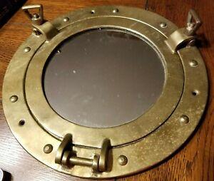 "Vintage 11.5"" Brass Porthole Mirror Nautical Maritime Wall Decor Ship"