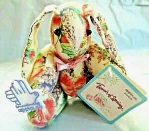"""Applause Brianna Bunny Rabbit Touch Of Spring Floral Pink Bow 5"""" Jointed Doll"""