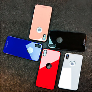 Fashion Color Tempered Glass Mirror Back  Hard Case Cover for iPhone 5/6/7/8/X