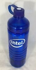 Intel Blue Plastic Cold Water Bottle Lid Attached BPA Free NEW