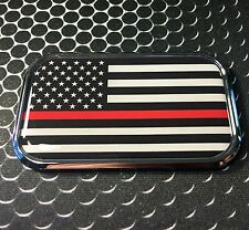 """THIN RED LINE Domed CHROME Emblem Proud USA FIREFIGTER Flag Car 3D 3""""x 1.8"""""""
