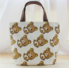 Rilakkuma san-x bear purple canvas handbag tote lunch bag storeage cartoon bag n