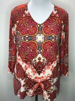Women's Chico's Size 2 L Soft Pink Orange Damask  3/4 Sleeve Knit Top