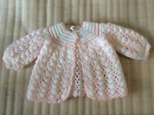 Handmade Pink White Baby Girl Sweater Cardigan Size 0-6 Months Made in Portugal
