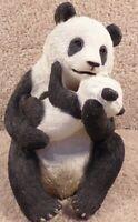 "2000 Sandicast Hand Painted Sculpture Sandra Brue 8"" Tall Panda And Cub"