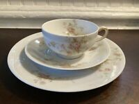 Antique Theodore Haviland Limoges France Pink Rose Tea Cup, Saucer, Plate 1903