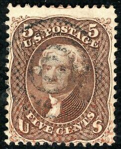 USA Stamp Scott.75 5c Red-Brown JEFFERSON (1862) Used Cat $450+ ORANGE303