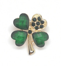 St Patrick's Day Ireland Black Shamrock Lucky Four Leaf Enamel Pin Badge Brooch