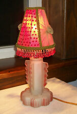 Frosted Art Deco Glass Bedside Lamp with Red Accents and Cute Shade Circa 1940s