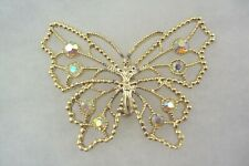 AB yellow crystal textured open work filigree butterfly gold tone brooch pin
