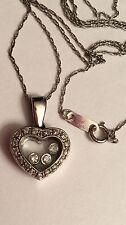 Happy Diamond 10K White Gold Heart Pendant Necklace