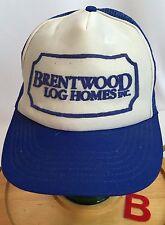 BRENTWOOD LOG HOMES, INC TRUCKER HAT BLUE & WHITE. SNAP BACK, GUC