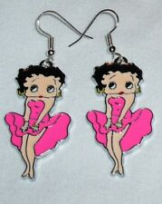 Betty Boop Hot Pink Earrings  Marilyn Pose Handcrafted Free Shipping within USA