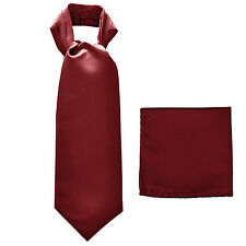 New polyester solid men's full ASCOT cravat necktie set wedding prom Burgundy