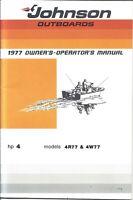 1977 JOHNSON outboard 4 HP Boat Motor Service Manual Models 4R77 & 4W77 🛠️