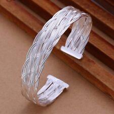 Fashion 925Sterling Solid Silver Jewelry Weave Bangles Bracelet K138