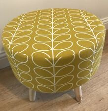 New large round footstool made with Orla Kiely Linear Stem Fabric 40x40x40cm