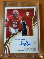 2020 Immaculate Football Jalen Hurts Bowl Patch On Card Auto 1/5  RPA Alabama 🔥