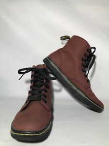 Dr. Martens Maroon Red Canvas Shoreditch Ankle Boots Womens US 6 / EU 37 / UK 4