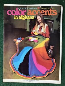 Color Accents in Afghans Leaflet 2527 Columbia- Mineyarn vintage fashion clothes